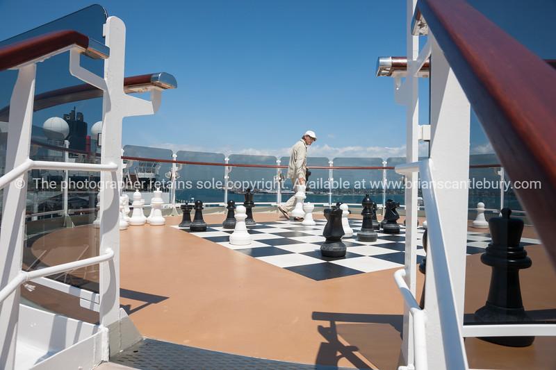 Chess board on cruise ship.