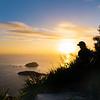 Sun on horizon illuminates sea and sky
