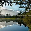 Lake Mathieson, Westland, New Zealand. Beautiful reflections, framed by native bush. New Zealand photographic stock images. South Island