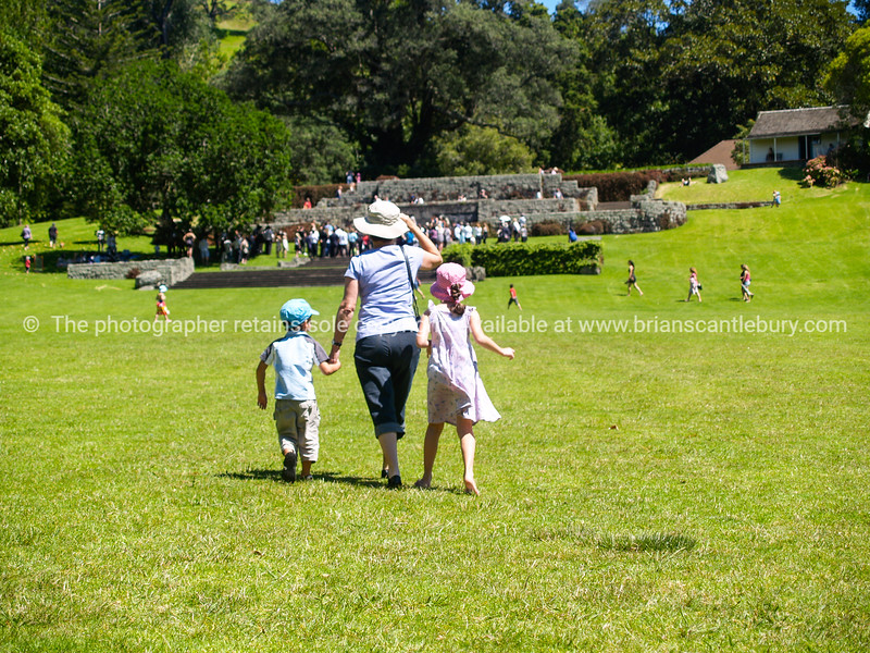Families enjoy a day at Cornwall Park, Auckland.