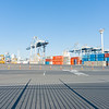 Large waterfront yard of Ports Of Auckland with stacks of containers and port handling equipment beyond leading lines of fence shadows