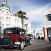 Masonic Hotel, heritage art deco building, Napier, NZ, 1931 Ford car.