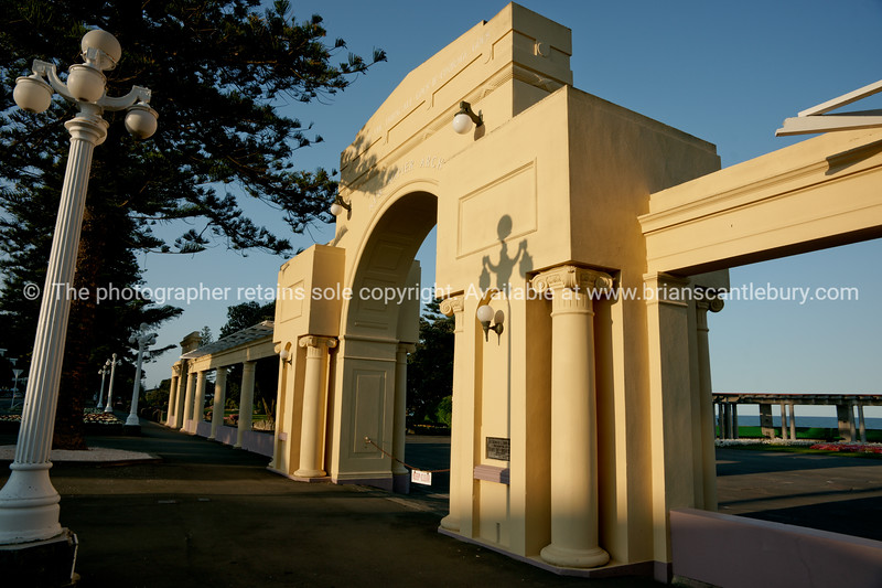 Millennium Arch on Marine Parade Napier. New Zealand images.