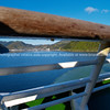 Picton, framed by boat hand-rail.  New Zealand images.