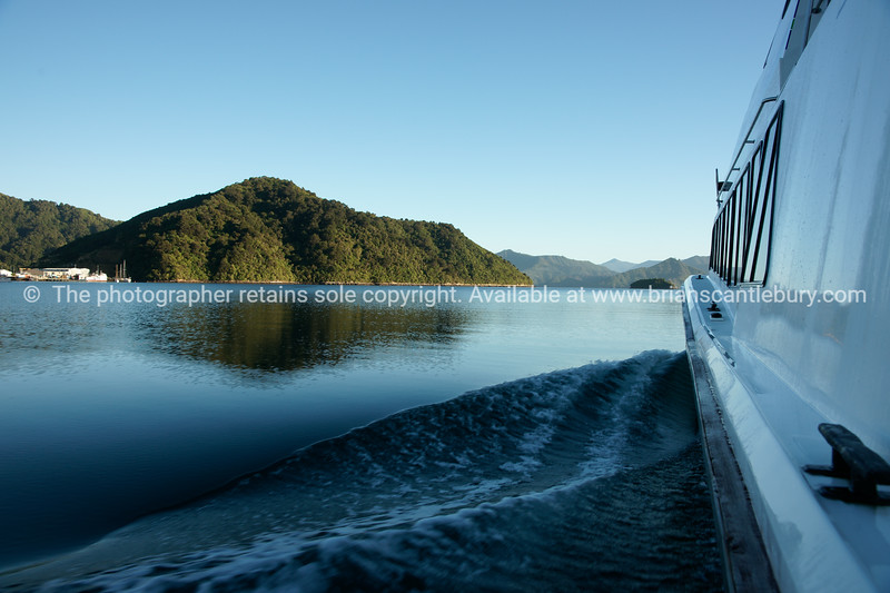 Travelling across scenic Marlborough Sounds. New Zealand images.