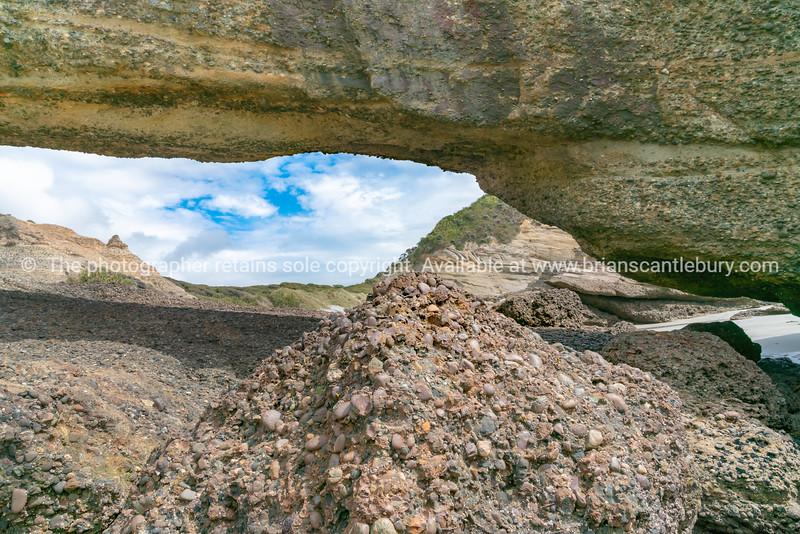 Landscape through natural arch