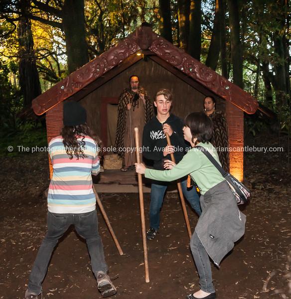 Tourists play a traditional Maori stick game in the Tamaki Maori Village.