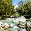 Clean clear stony river on Routeburn Track.