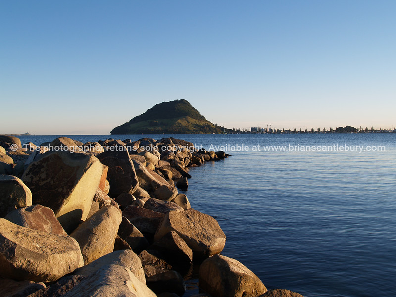Mount Maunganui from Sulphur Point rock groin