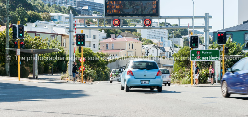 Wellington Intercity  By-Pass intersection with Willis Street with illumiated road advisory sign