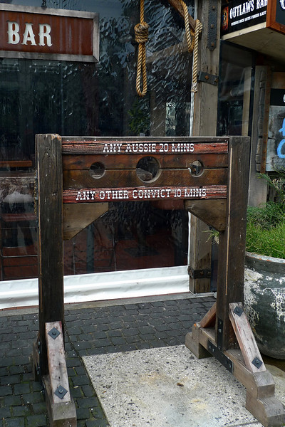 """Stocks outside the """"Outlaws Bar"""" in the Viaduct area of Auckland"""