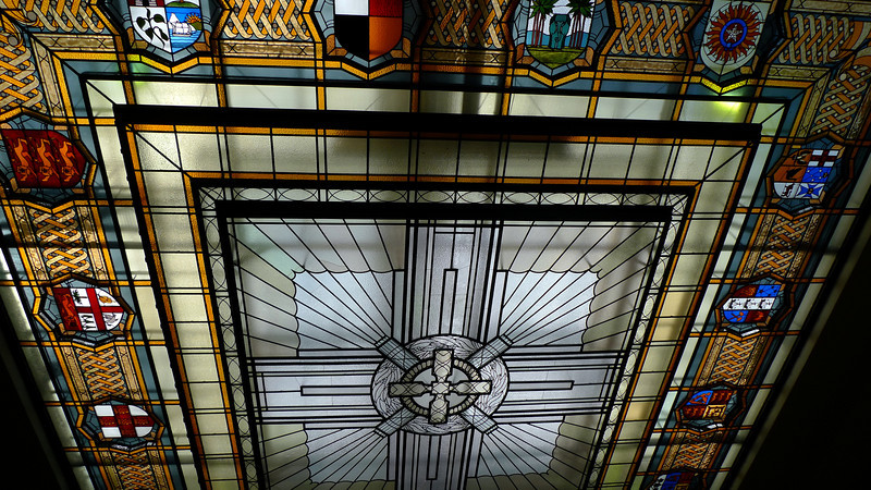 Stained glass ceiling above museum entrance.