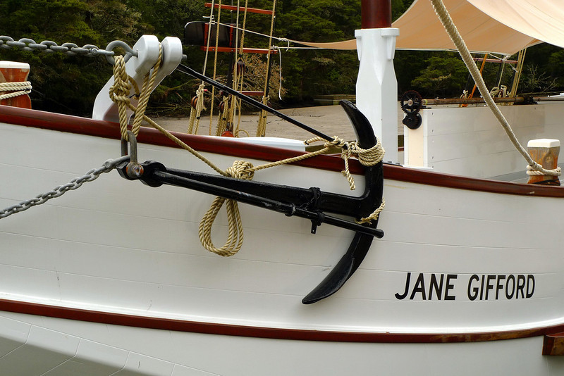 The Jane Gifford, an old restored Scow originally built in 1908. It is moored on the Mahurangi River in Warkworth.