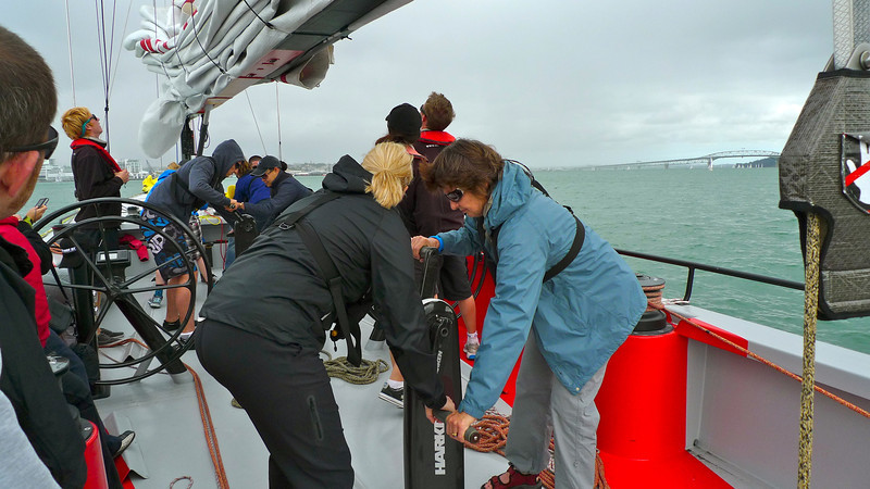 Robyn on the grinder on the America's Cup yacht.