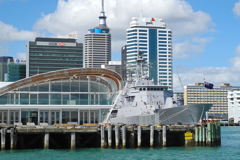 The navy ship Te Mana tied up next to the cloud in downtown Auckland Jan 2013