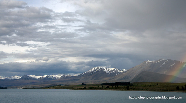 A rainbow at Lake Tekapo in New Zealand in November 2010