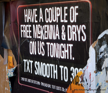 Poster offering free alcohol at a pub in Christchurch, New Zealand in November 2010.