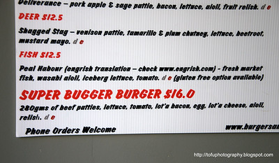 Burgers for sale in Christchurch, New Zealand in November 2010. Perfect light. Shagged stag and the super bugger burger lol