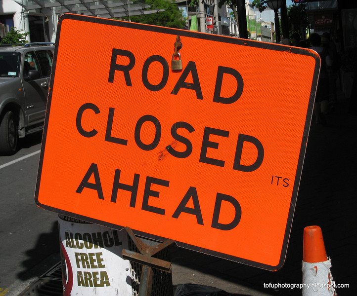 Road closed ahead sign in Christchurch, New Zealand in November 2010
