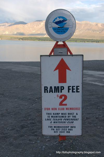 A boat ramp fee at Lake Tekapo in New Zealand in November 2010