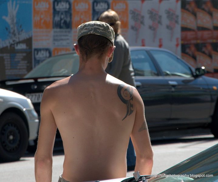 Man with a tattoo in Christchurch, New Zealand in November 2010. Perfect light