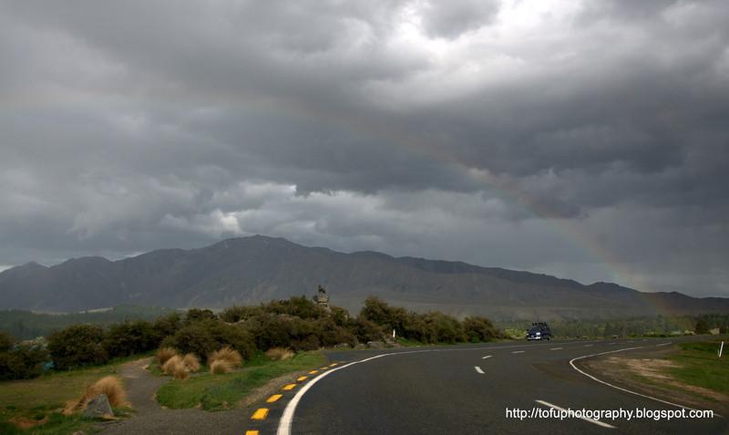 A rainbow at Lake Tekapo in New Zealand in November 2010