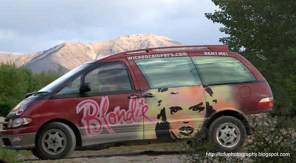 Blondie wicked campers vehicle at Lake Alexandrina in New Zealand in November 2010