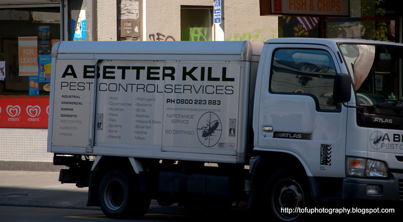 A better kill pest control services vehicle in Christchurch, New Zealand in November 2010. Perfect light
