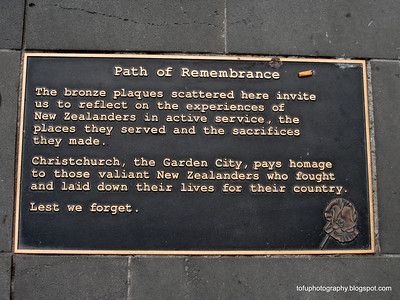 Path of Remembrance plaque in Christchurch, New Zealand in November 2010