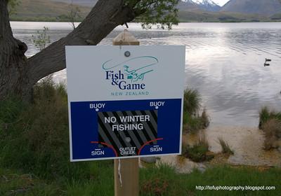 No winter fishing sign in Lake Alexandrina in New Zealand in November 2010