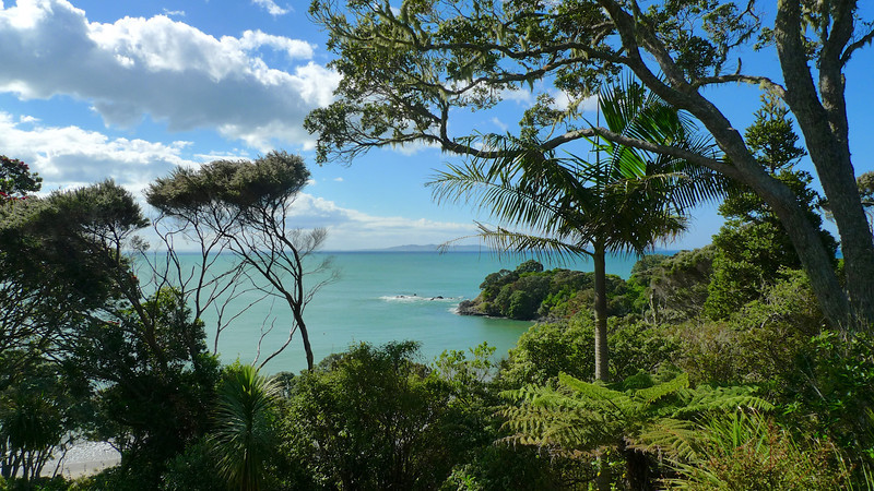 View over Doubtless Bay from the deck of our bach.