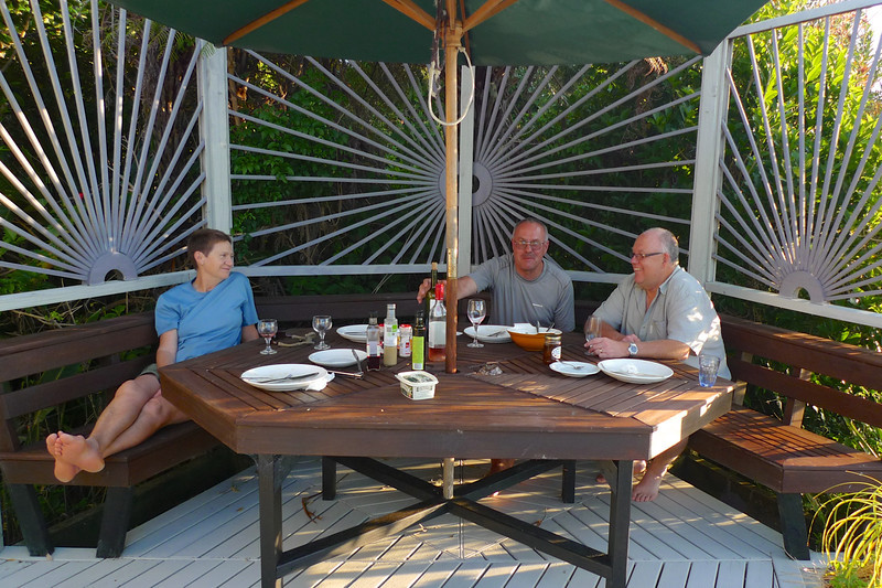 Helen, Paul and Russell enjoying dinner on the deck.