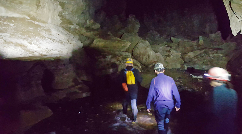 Waitomo Glowworm Caves - Glowing Adventures - New Zealand - Trekking through the stream inside the cave