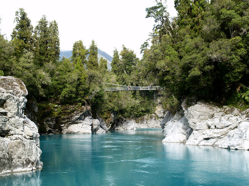 Hokitika gorge with pedestrian suspension bridge.