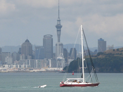 SY Mustang with Auckland CBD in background!