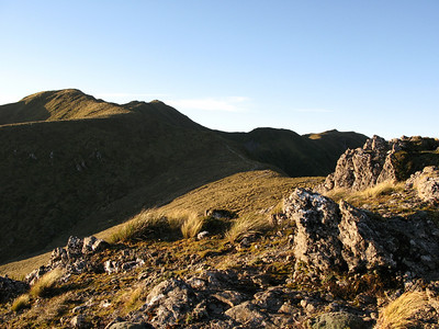 Mt Holdsworth 1470m (distant peak with the Trig Marker) - already getting windy and with sun setting fast too late to continue any higher.