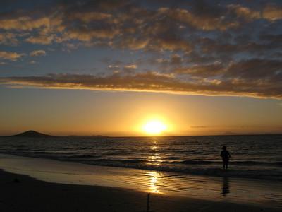 Sunset on Karikari Beach - Mount Puheke in distance.