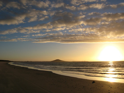 Sunset on Karikari Beach - Mount Puheke in distance.