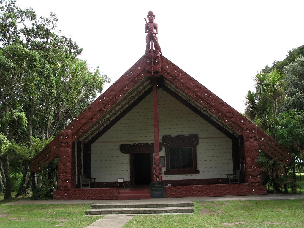 Te Whare Runanga meeting house - opened in 1940. The figure at the apex is the explorer Kupe.