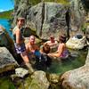Enjoying a soak in a hot pool on the edge of Lake Tarawera. (near Hot Water beach)