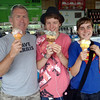 Tos, Jay and Holly with ice creams in Pokeno.