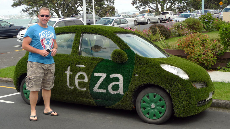 """Tos in Devonport with a """"green"""" car."""