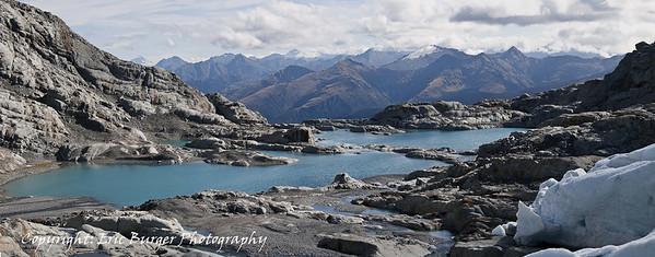 Terminal lakelet Brewster glacier - panorama.