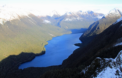 Lake Gunn (looking southwards), with the Milford Road on it's eastern side.