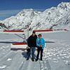 Russell and Robyn on the Tasman Glacier. Mt.Cook is behind.