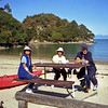 Robyn, Heather and Bruce at Kaiteriteri, Able Tasman National Park.