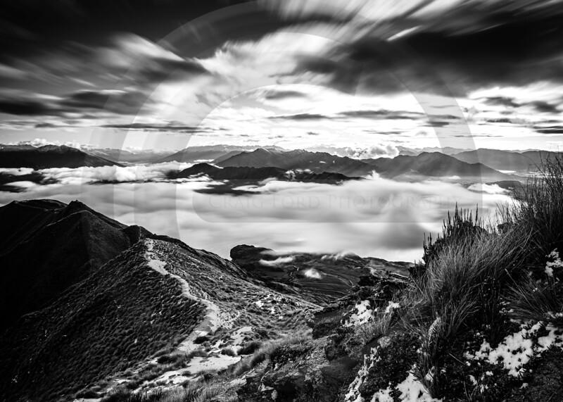 Roys Peak Waves of Mist Black & White