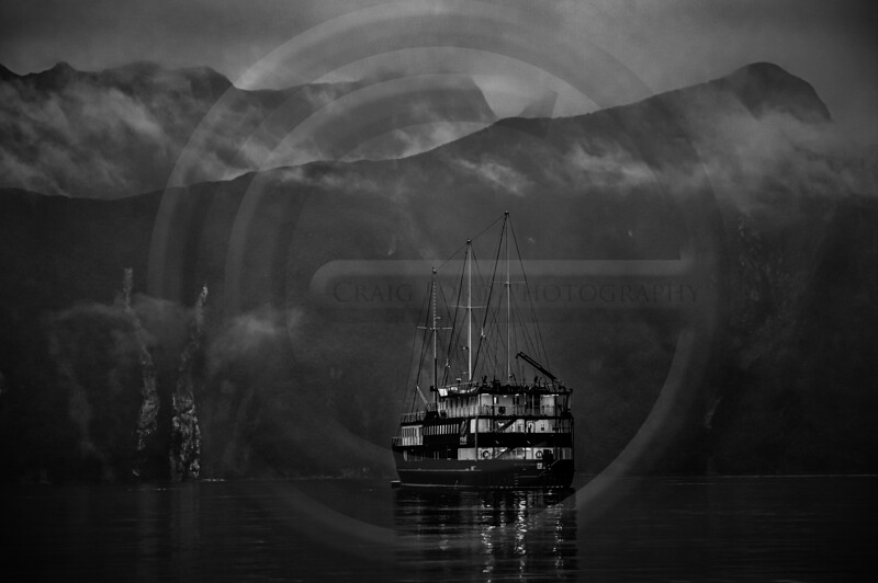 Milford Sound Boat Black & White