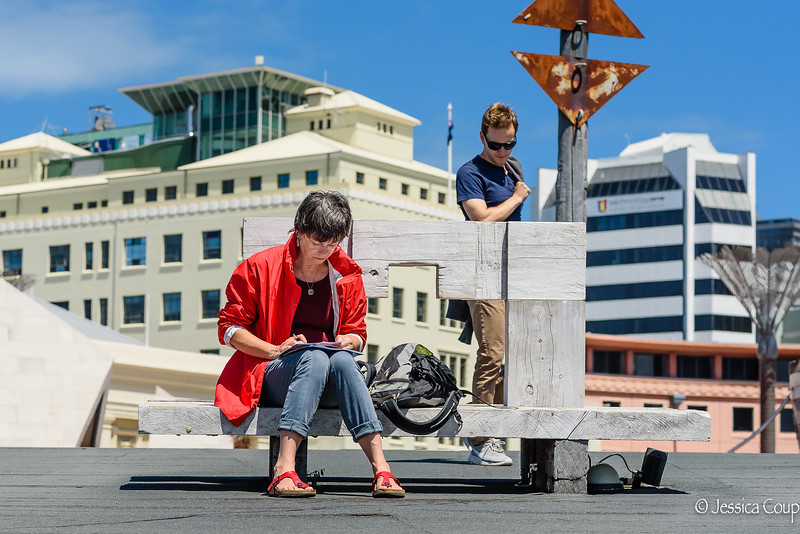Taking Notes at the Wellington Waterfront