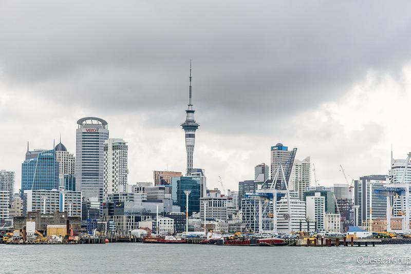 Harbor View of Auckland Skyline